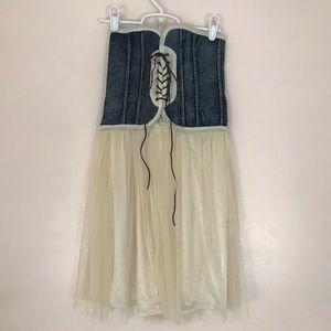 Vintage Denim Tulle Lace Up Strapless Mini Dress S